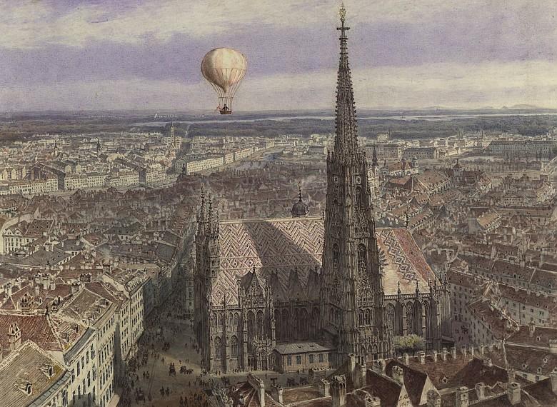 Jakob Alt: Balloon flight over Vienna, watercolour, 1847   Die ...