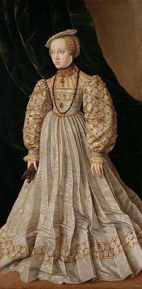 Jakob Seisenegger: Erzherzogin Anna (1528–1590), Tochter von Ferdinand I., Bildnis in ganzer Figur, um 1545