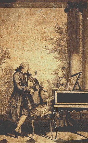 Jean Baptist Delafosse after Louis Carrogis de Carmontelle: Leopold Mozart making music with his children, ...