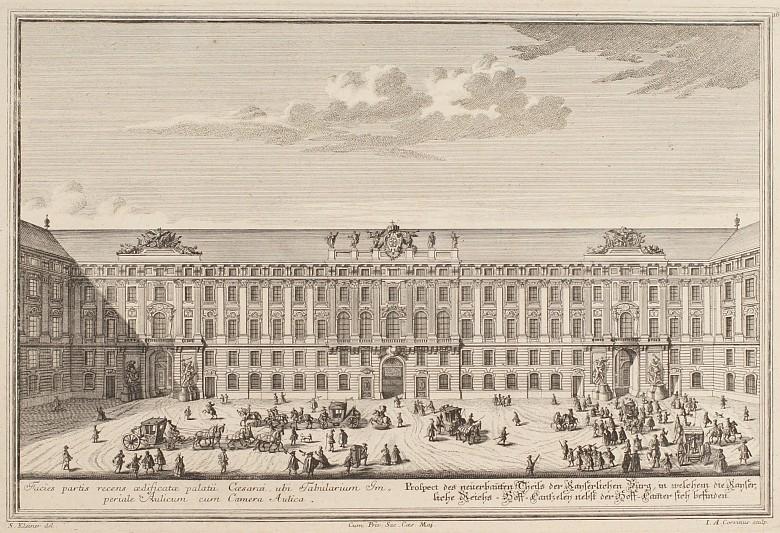 Johann August Corvinius (nach Salomon Kleiner): Ansicht des Reichskanzleitraktes der Wiener Hofburg, Kupferst…
