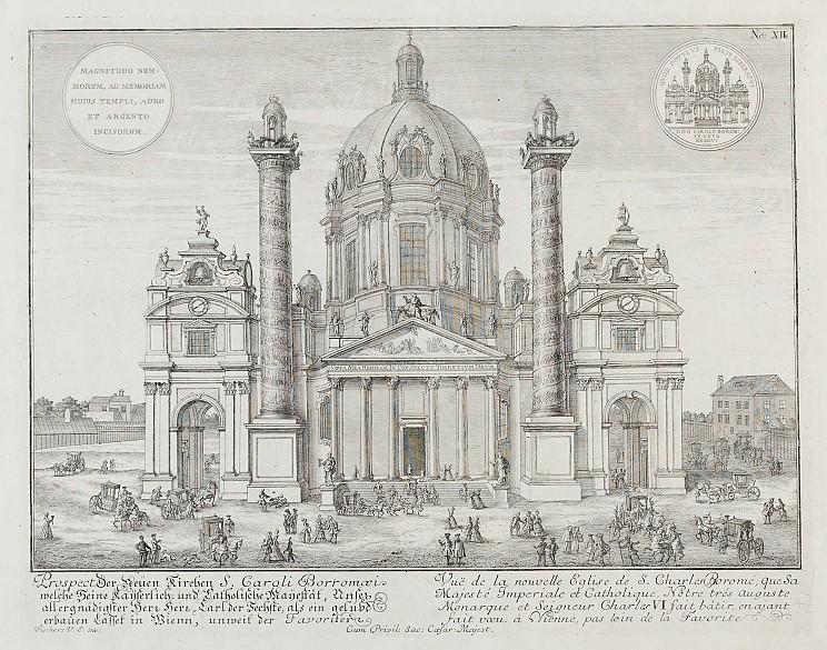 Johann Bernhard Fischer von Erlach: Entwurff Einer Historischen Architectur: Prospect der neuen Kirchen S. Ca…