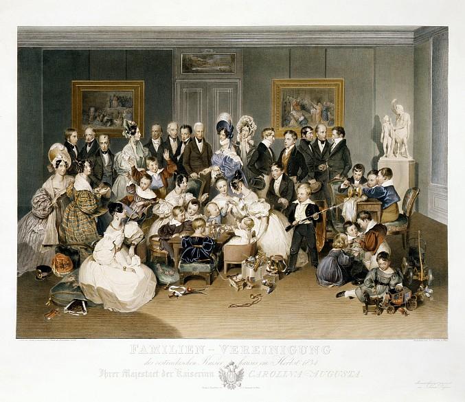 Johann Passini nach Peter Fendi: Familienporträt der Kaiserin Karoline Auguste, Druck nach Aquarell, 1834