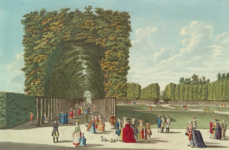 Johann Ziegler: A part of the Augarten, coloured copperplate engraving, 1783