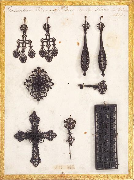Joseph Glanz: Fancy cast-iron goods (earrings and pendants), 1839