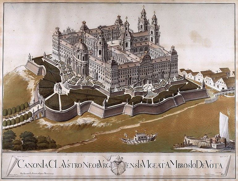 Joseph Knapp: Idealized view of the remodelling of the abbey at Klosterneuburg by Donato Felice d'Allio, wa...