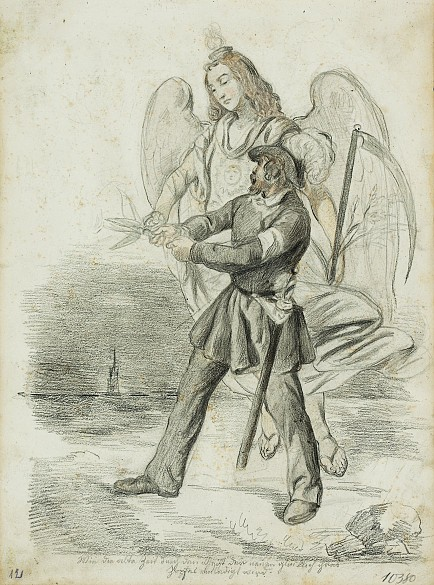 Joseph Lancedelli: 'How the Old Age gladly lost its pigtail to the spirit of the New', chalk lithograph, 1848