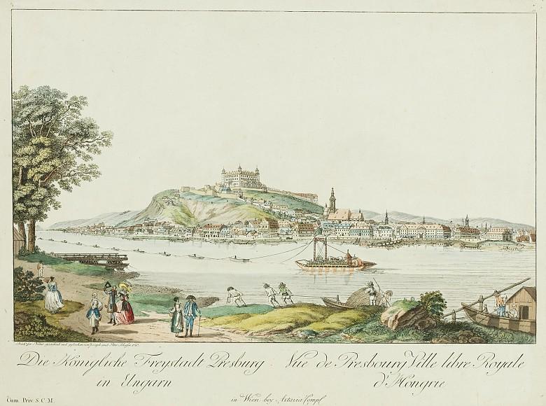 Joseph Schaffer/Peter Schaffer: Die Königliche Freystadt Presburg in Ungarn, Stich, koloriert, 1787