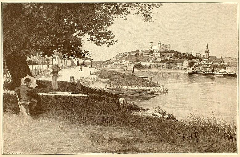 Julius Háry: Die Donau bei Pressburg, Illustration, 1896
