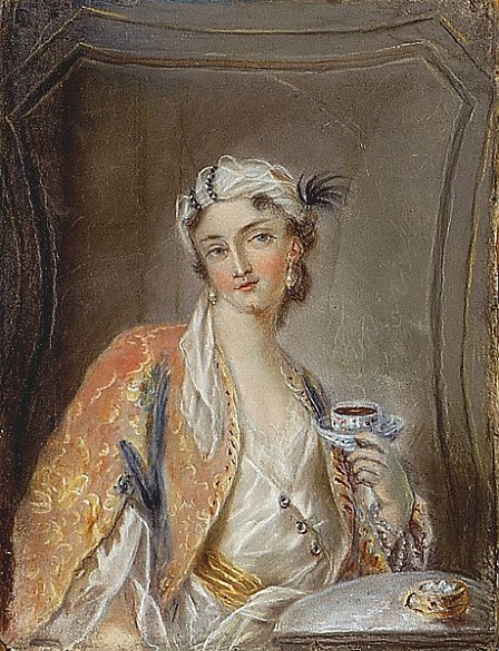 Young Turkish woman holding a coffee cup in her left hand, watercolour, 2nd half of 18th century