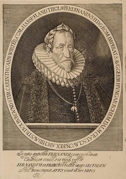 Emperor Ferdinand II with the Order of the Golden Fleece, copperplate engraving
