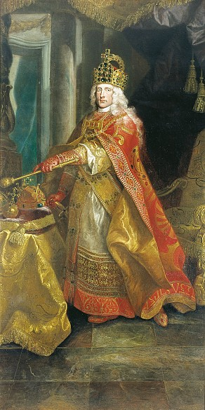 Emperor Joseph I as Roman-German Emperor in the coronation regalia, crowned with the imperial crown; the Hu...