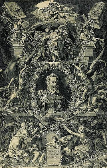 Kaiser Matthias im Porträtmedaillon, Kupferstich, nach 1611