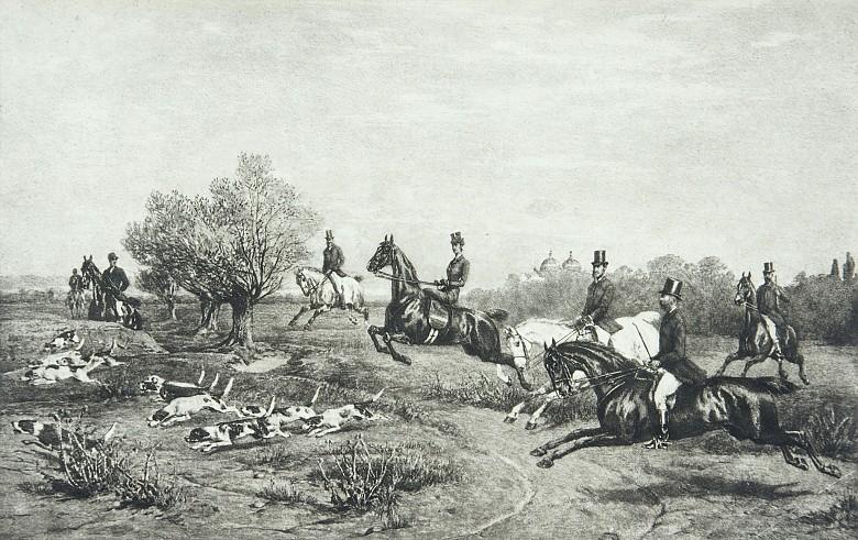 Kaiserin Elisabeth auf einer Hetzjagd bei Gödöllö, Heliogravure, 19. Jahrhundert