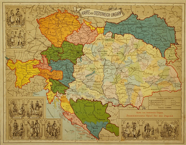 Karte von Österreich-Ungarn, Zusammensetzspiel für die Jugend