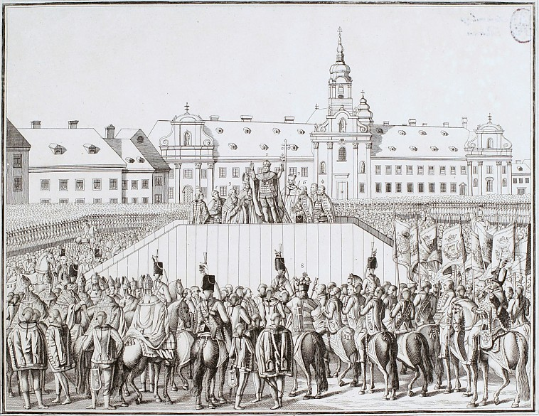 The coronation of Leopold II as King of Hungary in Pressburg, copperplate engraving, 18th century