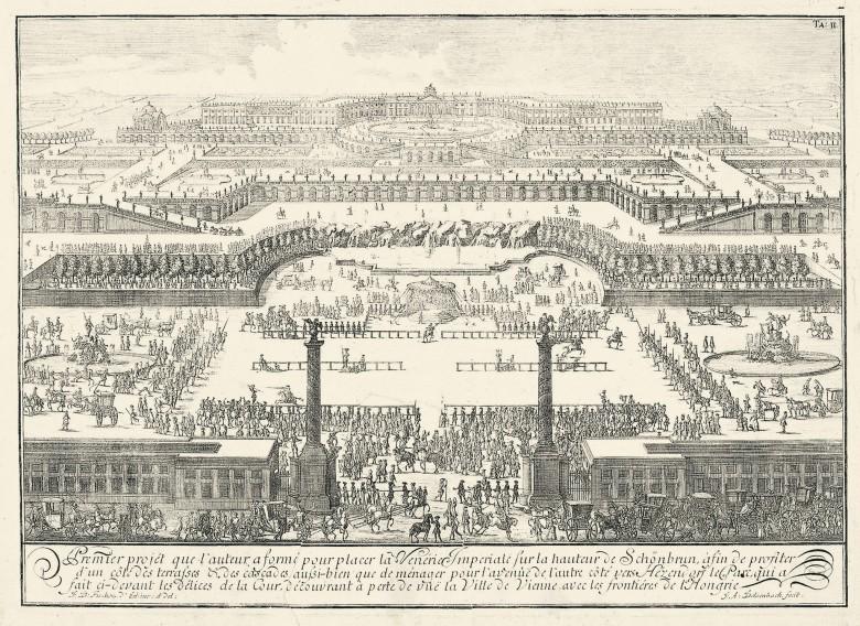 La Venerie Imperiale sur la Hauteur de Schönbrunn (= Erstes Projekt für Schloss Schönbrunn), 1721, Kupferstic…