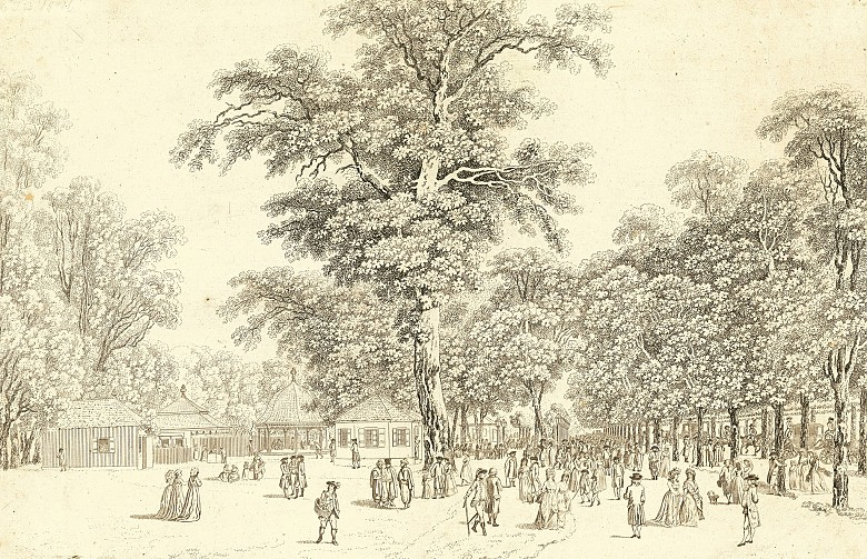 Laurenz Janscha/Johann Ziegler: The beau monde forgathering at the coffee houses on the great avenue of the...