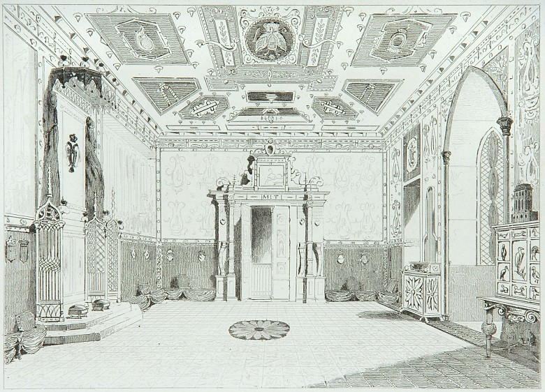 Lemaitre: The Throne Room at the Franzensburg, lithograph, 19th century