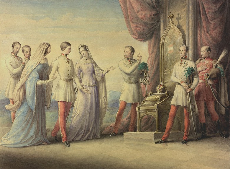 Leopold Kupelwieser: Archduchess Sophie conducts her son Franz Joseph to the throne, watercolour, 1848