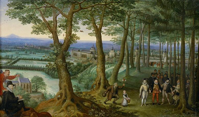 Lucas von Valckenborch: Kaiserlicher Waldspaziergang vor dem Schloss Neugebäude, um 1593