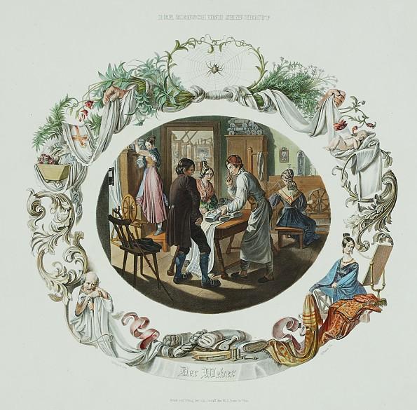 M. Brehms after N. Geiger: Sales room and workshop of a weaver from the series 'Der Mensch und sein Beruf',...