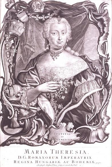 Maria Theresia, Halbfigur vor Draperie und in üppiger Barockkartusche, Mezzotinto
