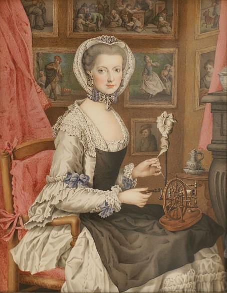Marie Christine im weißen Kleid, Mitte 18. Jahrhundert, Gouache