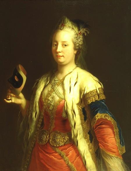 Martin van Meytens: Maria Theresa in Turkish costume holding a mask, c. 1744