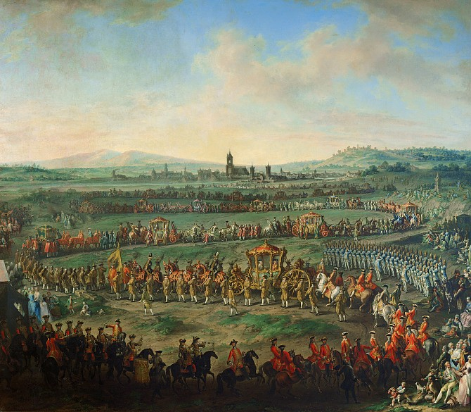 Martin van Meytens and studio: Entry of Joseph II into Frankfurt for his coronation in 1764, painting, afte...