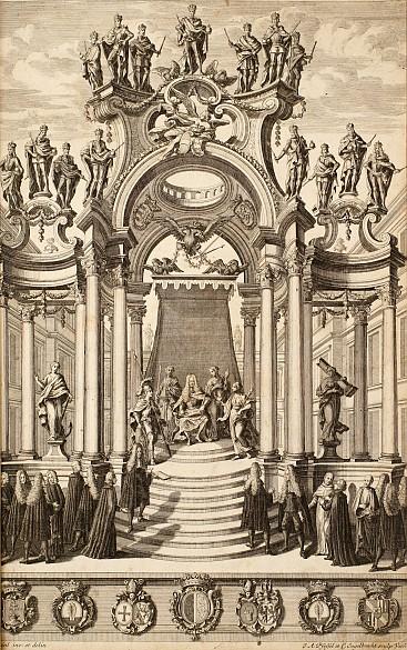 Mathias Steinl: Titelkupfer anlässlich der Erbhuldigung der niederösterreichischen Stände für Joseph I. 1705