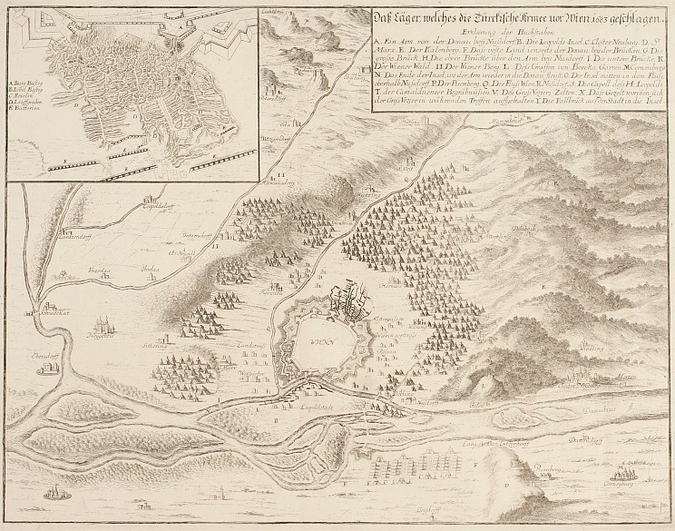 Matthäus Merian the Younger: 'The camp pitched by the Turkish army before Vienna in 1683', perspective plan...