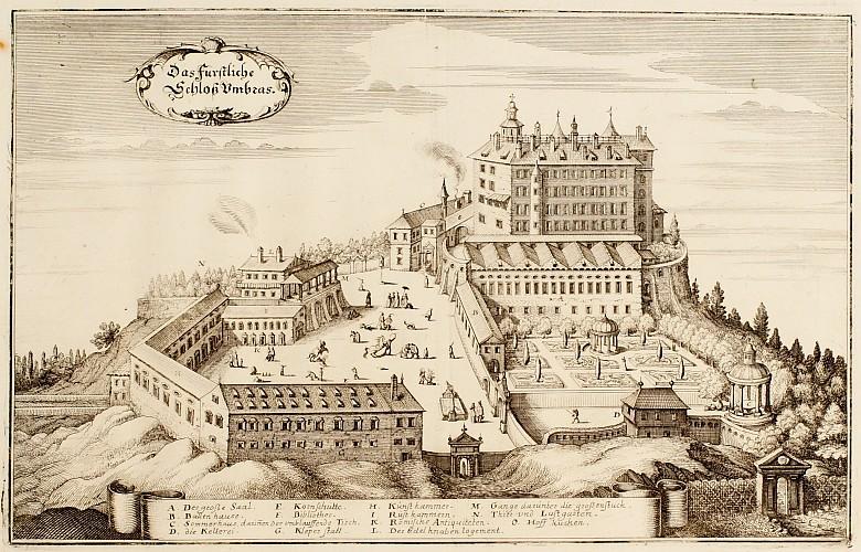Matthäus Merian: *Topographia Provinciarium Austriacarum […]*, 1649: View of Schloss Ambras