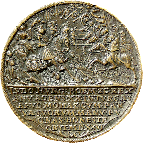 Medal with Louis II and Mary and the Battle of Mohács (reverse), c. 1531/1535