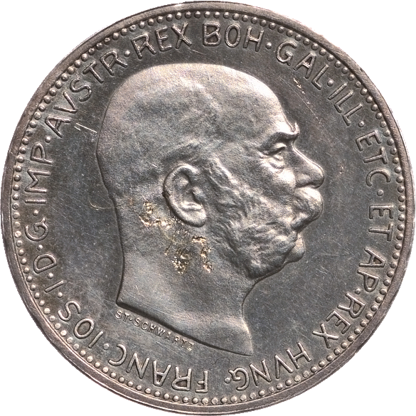 1 krone coin, 1912, with an image of Emperor Franz Joseph