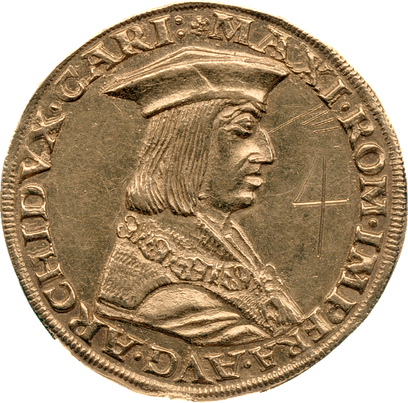 Four ducat coin, 1518, with an image of Emperor Maximilian I