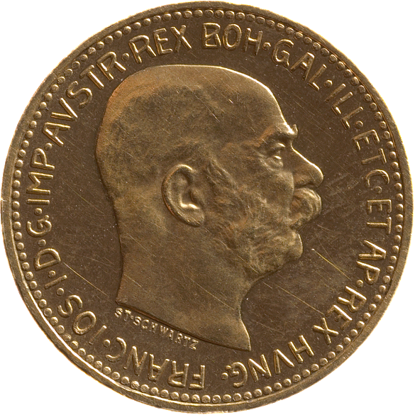 Gold 20 goldkrone coin, 1916, with an image of Emperor Franz Joseph
