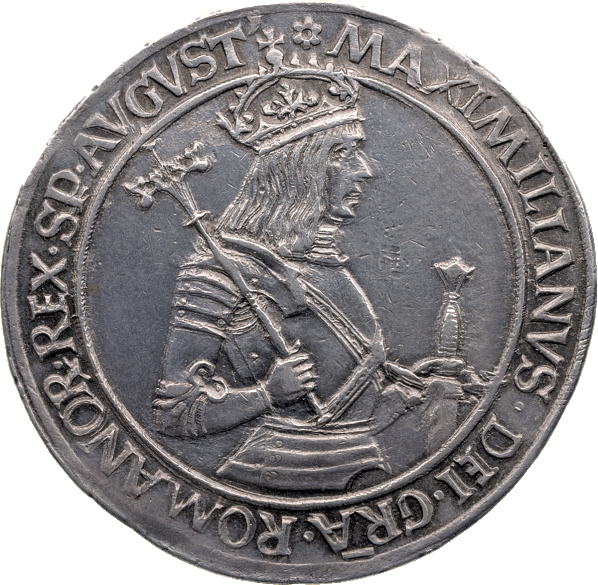 Coin, 'Königs-Guldiner' (royal guldiner), 1493–1509, with an image of Emperor Maximilian I