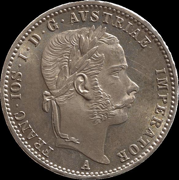 Silver 1/4 gulden coin, 1866, with an image of Emperor Franz Joseph
