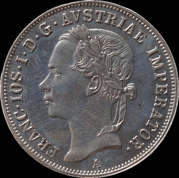 Silver 20 kreuzer coin, 1852, with an image of Emperor Franz Joseph