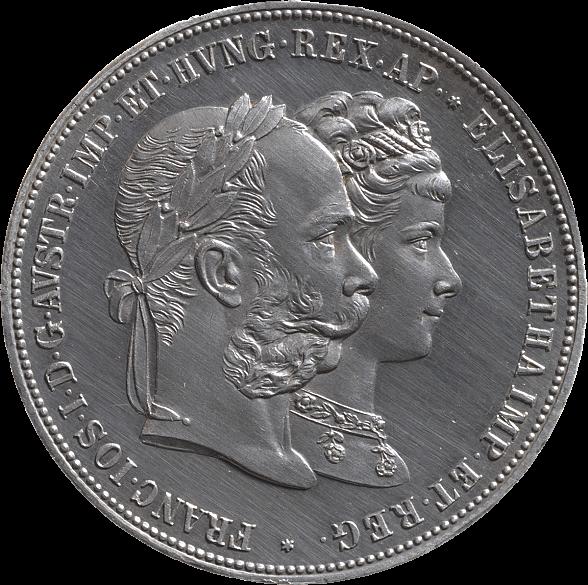 Münze, Silber, 2 Gulden, 1879, abgebildete Personen: Kaiser Franz Joseph und Kaiserin Elisabeth