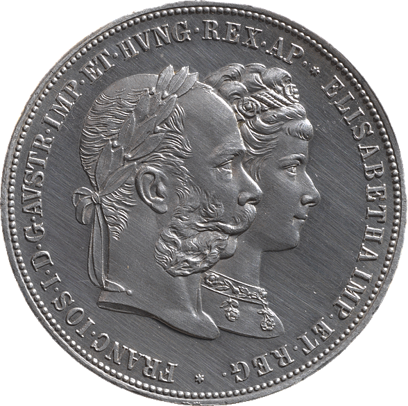 Silver 2 gulden coin, 1879, with an image of Emperor Franz Joseph and Empress Elisabeth