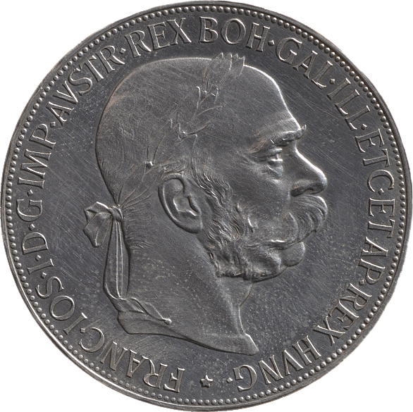 Silver 5 krone coin, 1907, with an image of Emperor Franz Joseph