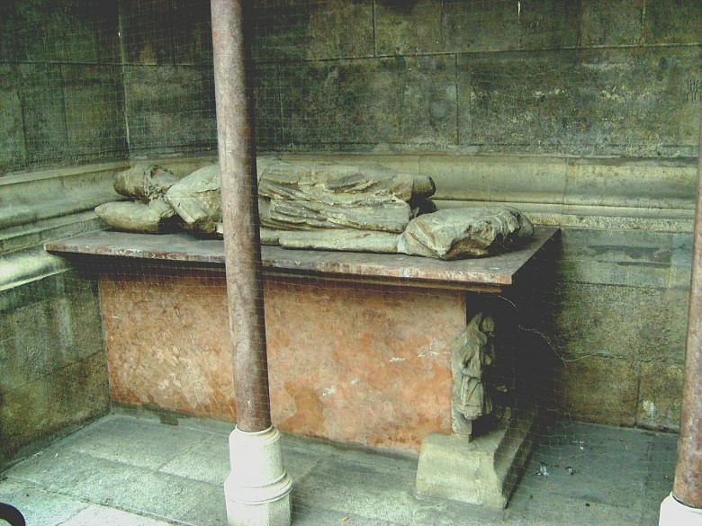 The Neidhart tomb on the south side of St Stephen's Cathedral in Vienna; recumbent figure and 'Schwankszene...