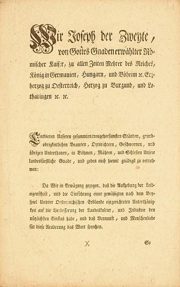 Patent abolishing serfdom, 1781