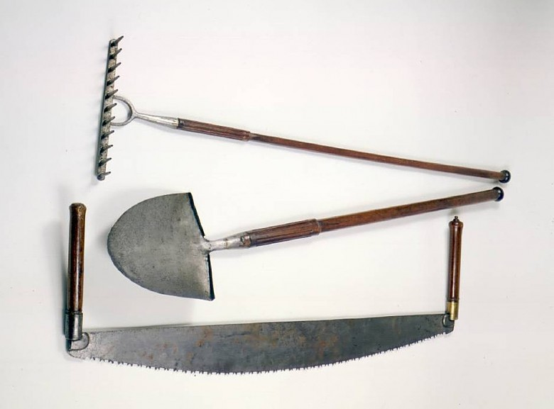 Emperor Franz's personal set of gardening tools (two-man cross-cut saw, shovel and rake), c. 1810, hand-forge…