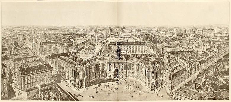 Perspektivische Ansicht der Wiener Hofburg, 19. Jahrhundert