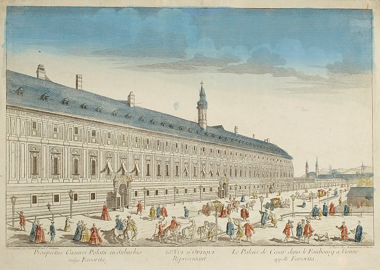 Prospect of the imperial palace called the Favorita in the suburbs of Vienna, coloured copperplate engravin...