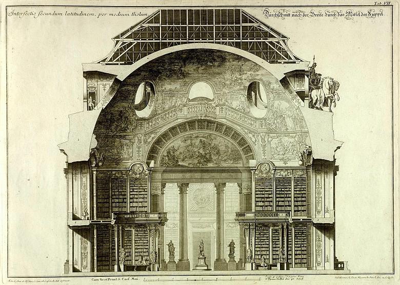 Salomon Kleiner: Dilucida Repraesentatio Magnificae et Sumptuosae Bibliothecae Caesareae, Kupferstich, 1737