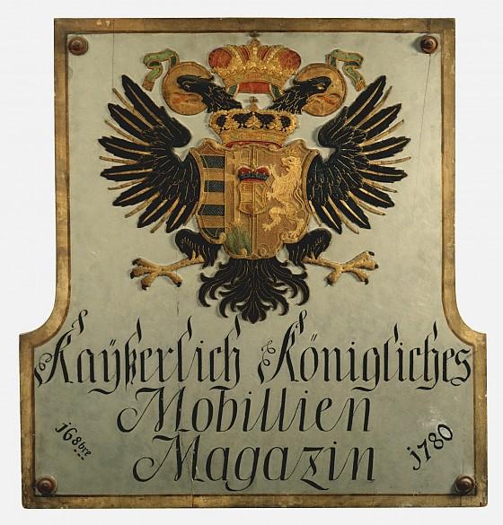 Sign with the legend *Kayserlich Königliches Mobillien Magazin – 16. 8bre 1780*