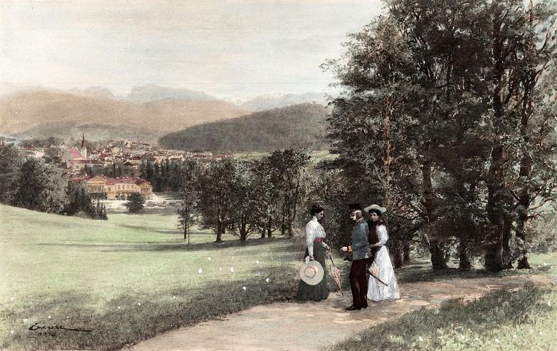 Franz Joseph auf einem Abendspaziergang mit seinen Töchtern